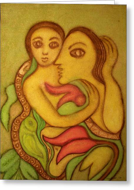 The Wise Serpent Greeting Card by Nabakishore Chanda