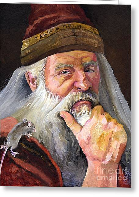 The Wise Wizard Greeting Card by J W Baker