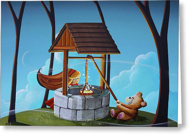 The Wishing Well Greeting Card by Cindy Thornton