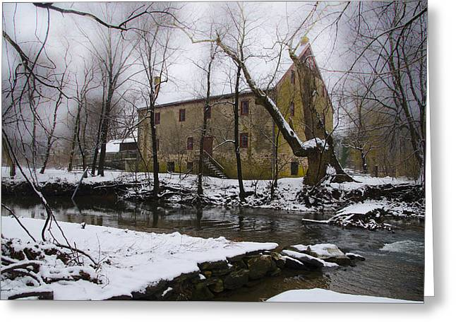The Wissahickon Creek And Mather Mill In The Snow Greeting Card by Bill Cannon