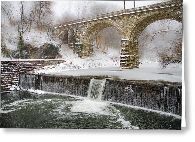 The Wissahickon Creek At Ridge Avenue In The Snow Greeting Card by Bill Cannon