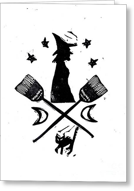 The Witches Crest Halloween Silhouette Greeting Card by Coralette Damme