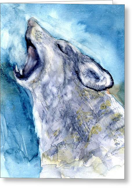 The Wolf Howls Greeting Card by Marilyn Barton