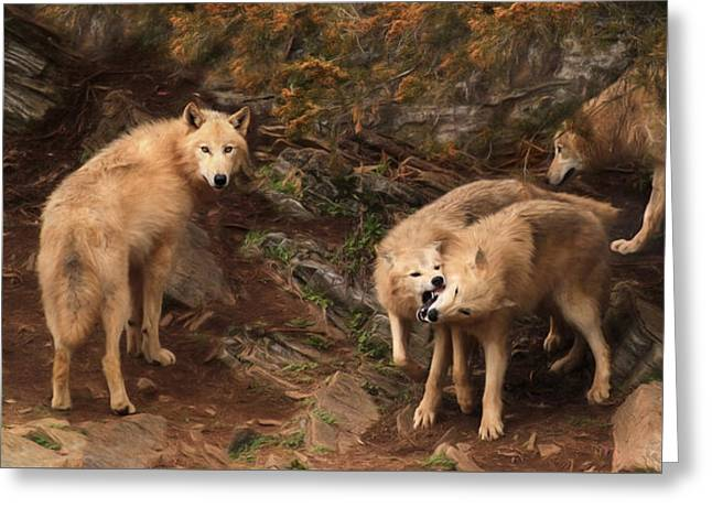 The Wolf Pack Greeting Card by Lori Deiter