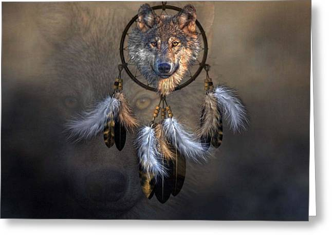 Wolf Spirit Dream Catcher Greeting Card by G Berry