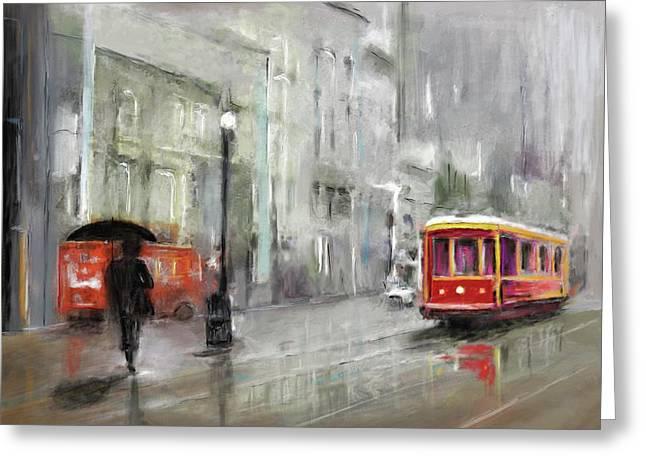 The Woman In The Rain Greeting Card