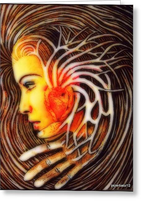 Recently Sold -  - A Hand Mirror Greeting Cards - The Woman Thinks With The Heart Greeting Card by Paulo Zerbato