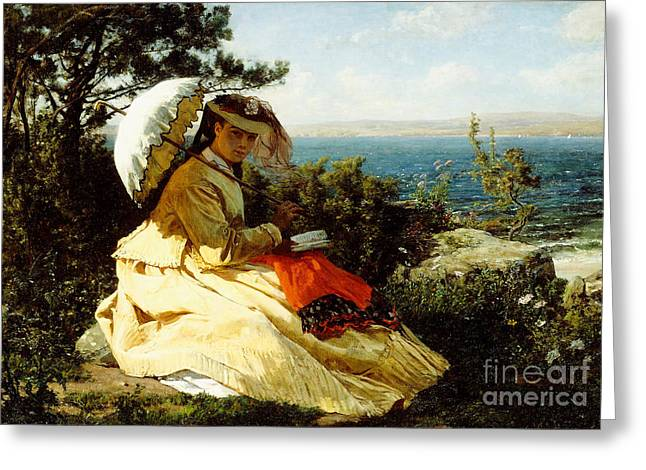 The Woman With The Parasol Greeting Card by Jules Breton