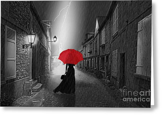 The Woman With The Red Umbrella Greeting Card by Monika Juengling