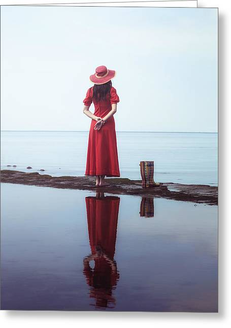 the woman with the Wellies Greeting Card by Joana Kruse