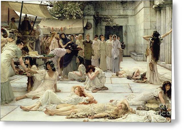 Leopard Skin Greeting Cards - The Women of Amphissa Greeting Card by Sir Lawrence Alma-Tadema