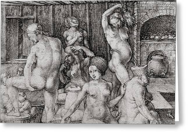 The Women's Bath, 1496 Greeting Card by Albrecht Durer