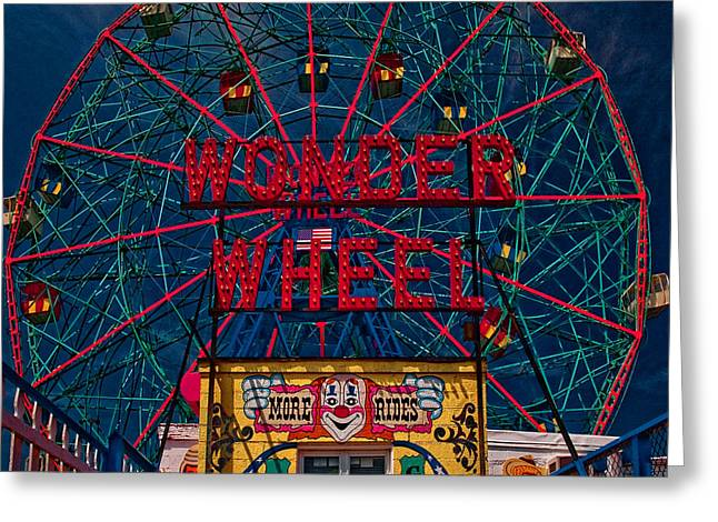 The Wonder Wheel At Luna Park Greeting Card by Chris Lord