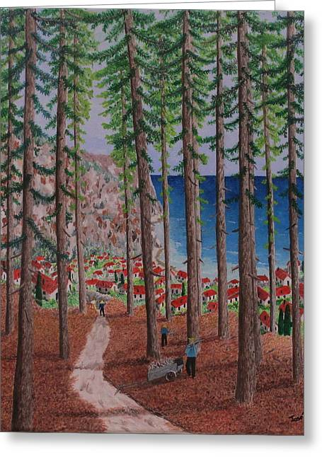 The Wood Collectors Greeting Card by Hilda and Jose Garrancho