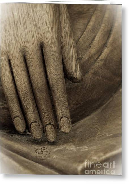 The Wooden Hand Of Peace Greeting Card