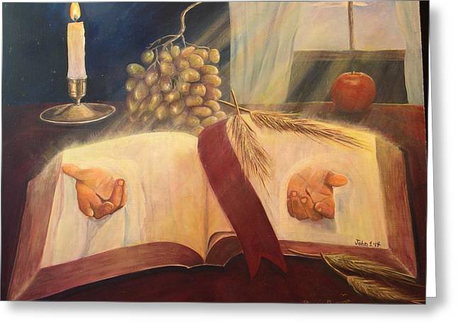The Word Made Flesh Greeting Card by Renee Dumont  Museum Quality Oil Paintings  Dumont