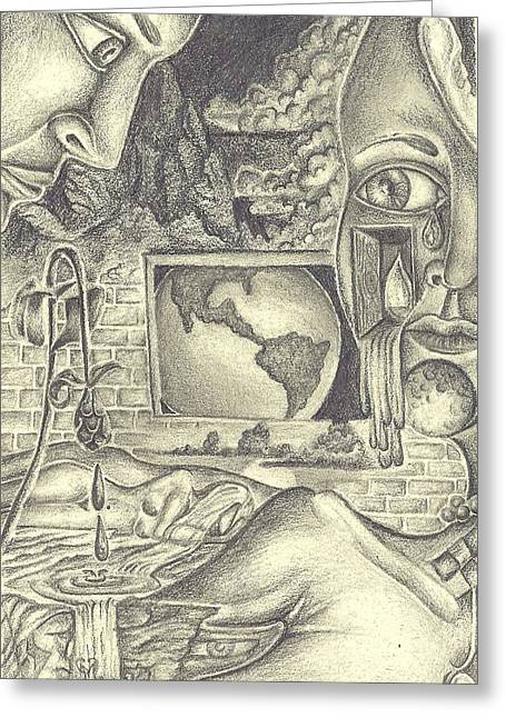 The World Cries Greeting Card by Karen Musick