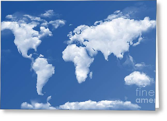 The World In The Clouds Greeting Card