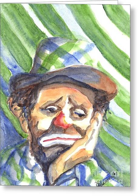 The World Loves A Clown Greeting Card by Carol Wisniewski
