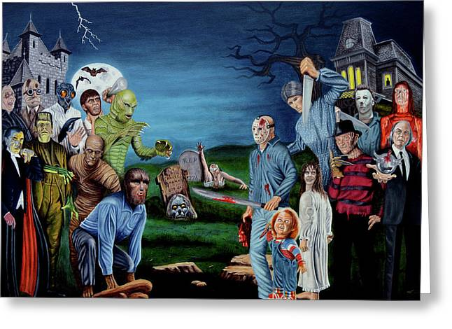 The World Of Classic Horror Greeting Card by Tony Banos
