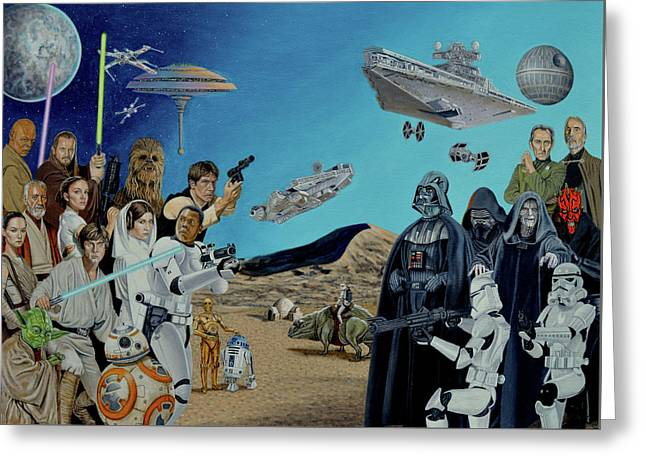 The World Of Star Wars Greeting Card by Tony Banos