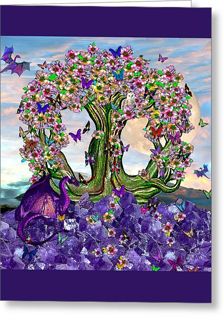 The World Tree Spring Equinox Dragons Greeting Card