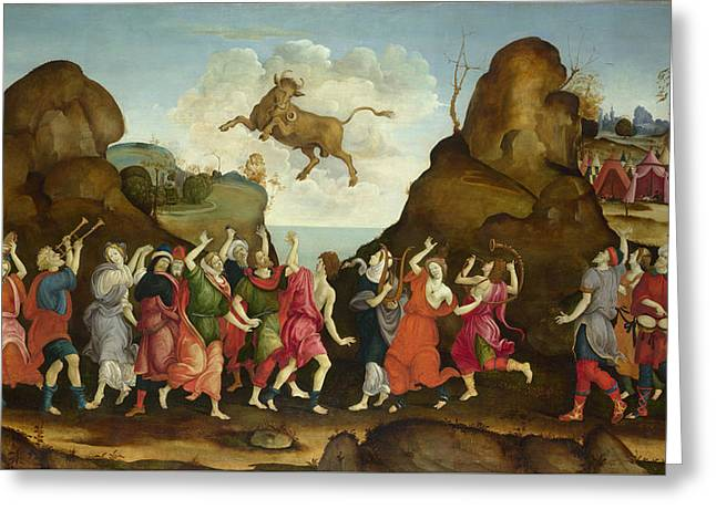 The Worship Of The Egyptian Bull God Apis Greeting Card by Follower of Filippino Lippi