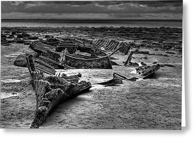 The Wreck Of The Steam Trawler Greeting Card by John Edwards