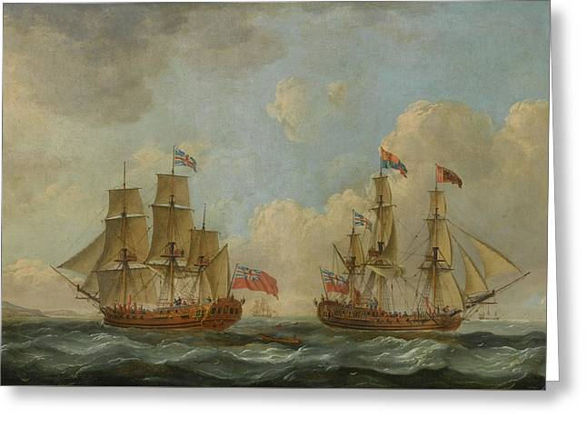 The Yacht Royal Charlotte In Two Positions Off The Coast Greeting Card by John Cleveley