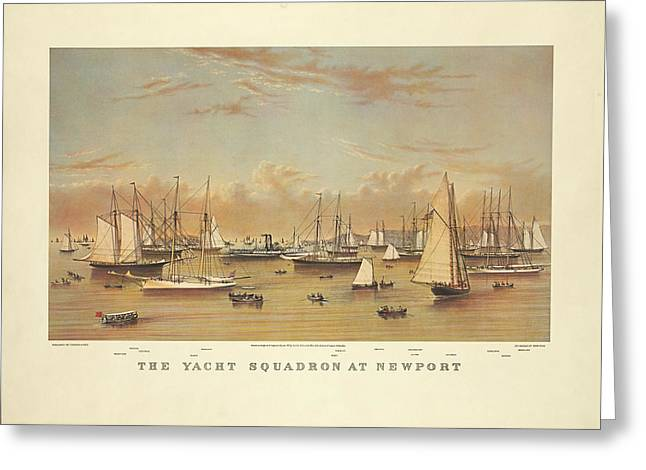 The Yacht Squadron At Newport Greeting Card