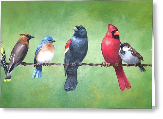Cedar Fence Greeting Cards - The Yardbirds Greeting Card by Kerry Trout