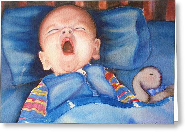 Greeting Card featuring the painting The Yawn by Marilyn Jacobson