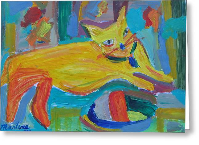 Colrful Greeting Cards - The Yellow Cat Greeting Card by Marlene Robbins