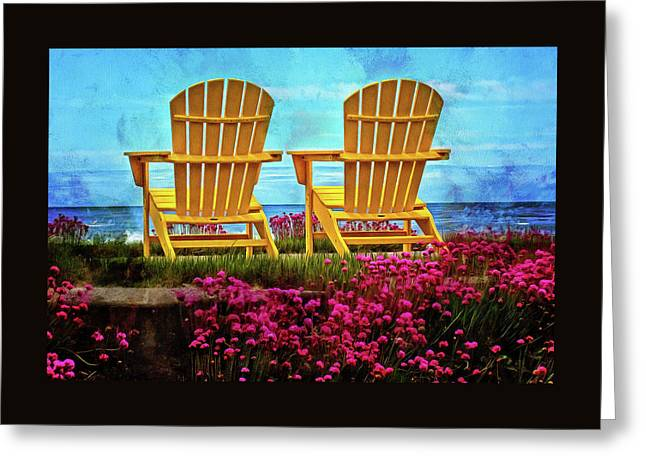 The Yellow Chairs By The Sea Greeting Card by Thom Zehrfeld