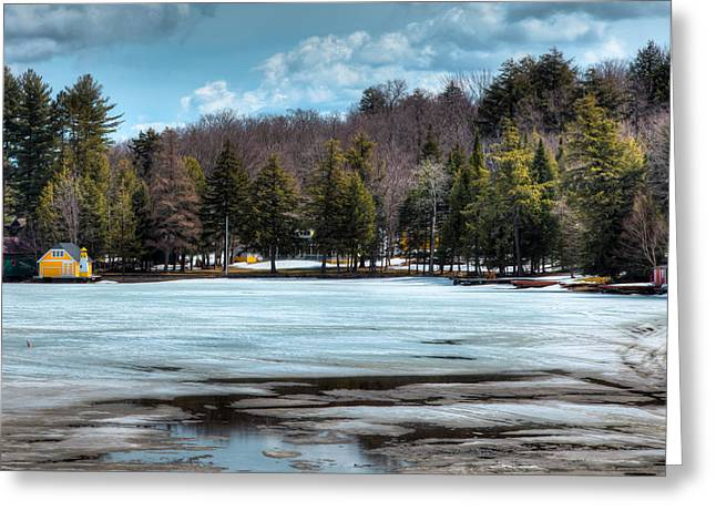 The Yellow Lighthouse On Old Forge Pond Greeting Card by David Patterson