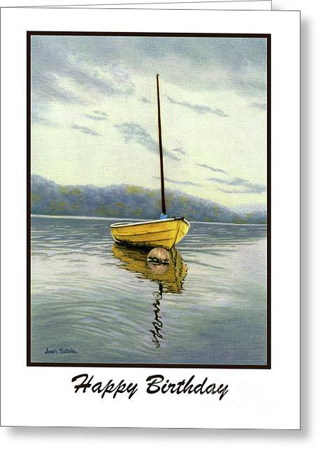 The Yellow Sailboat- Happy Birthday Cards Greeting Card by Sarah Batalka