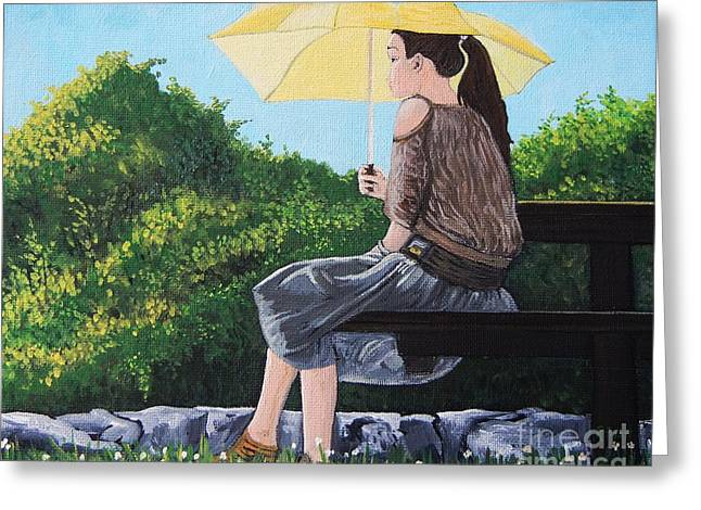 The Yellow Umbrella Greeting Card by Reb Frost
