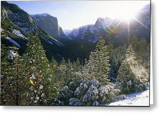 The Yosemite Valley In Winter Greeting Card