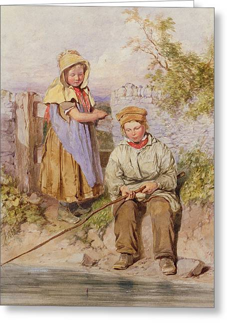 The Young Anglers Greeting Card by James Hardy Junior