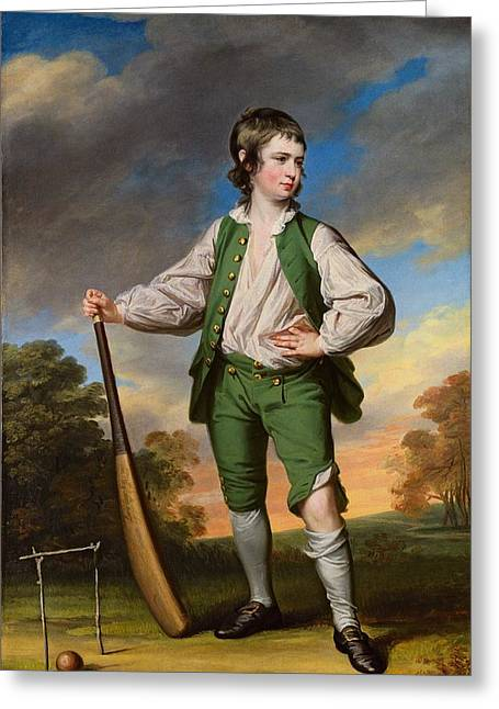 The Young Cricketer  Portrait Of Lewis Cage Greeting Card by Celestial Images