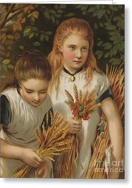 The Young Gleaners Greeting Card by English School
