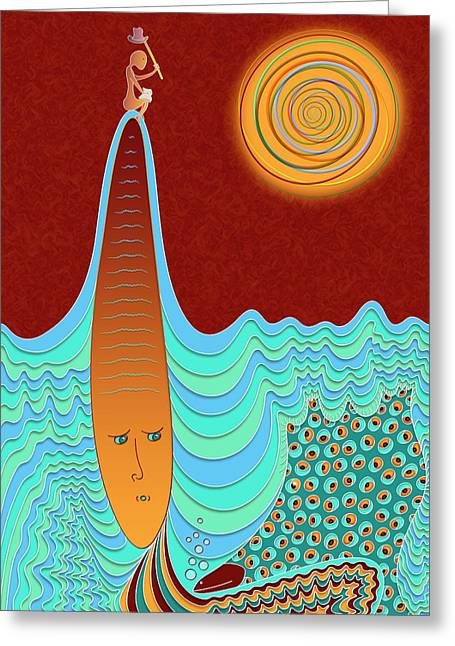 The Young Man And The Sea Greeting Card by Becky Titus