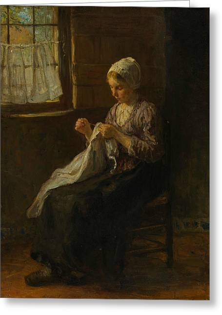 The Young Seamstress Greeting Card by Jozef Israels