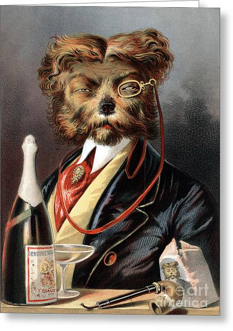 The Young Swell Aristocratic Dog 1869 Greeting Card by Science Source