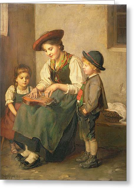 The Zither Player Greeting Card by Franz von Defregger