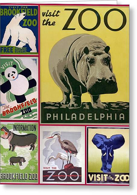 The Zoo 1930s And 1940s Poster Art Greeting Card