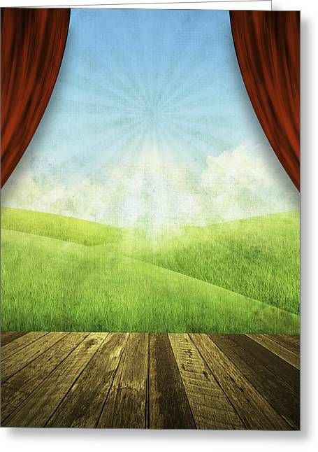 Theater Stage With Red Curtains And Nature Background  Greeting Card