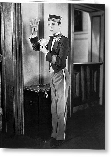 Theater Usher With Tickets Greeting Card by Underwood Archives
