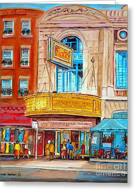 Theatre Rialto Ave. Du Parc Montreal Greeting Card by Carole Spandau