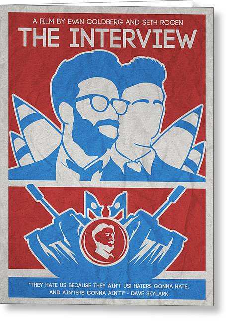 Theminimalist Movie Poster- The Interview Greeting Card by Celestial Images